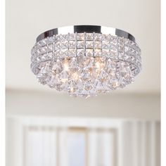 Jolie Iron Shade Crystal Flush Mount Chandelier - Overstock Shopping - Big Discounts on The Lighting Store Flush Mounts