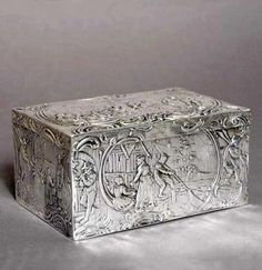 Antique English Sterling Silver Repousse Box Caddy
