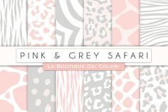 Pink & Grey Animal Prints Papers by La Boutique dei Colori on @creativemarket