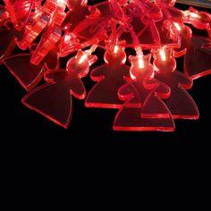 Sirius - DEA LED lyskæde med 20 hvide LEDs og transparent kæde - Prinsesse - rød