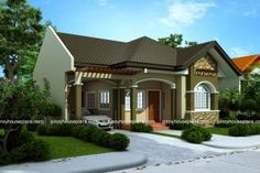 Small house design 2014007 belongs to single story house plans here at Pinoy ePlans. This house plan is a 125 sq. floor plan with 3 bedrooms and 3 bathrooms. Modern Roof Design, House Roof Design, House Design Photos, Small House Design, Cool House Designs, Bungalow Haus Design, Small Bungalow, Bungalow House Plans, Style At Home
