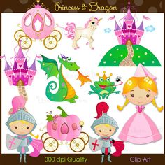 PRINCESS & DRAGON Clip art set in premium quality by urbanwillow, $4.95