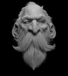 CGTalk - The Dwarf clay render, Farhad Nojumi zbrush Zbrush Character, Character Modeling, Character Art, Character Design, 3d Modeling, Digital Painting Tutorials, Digital Paintings, Sculpture Head, Digital Sculpting