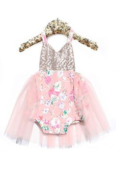 Luxe Garden Sparkle Romper I'm a sucker for anything pink and sparkly! #bellethreadspinterest
