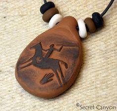 HORSE RIDERHandmade Clay Pendant  Native American by SecretCanyon,    Price: $8.95 -- always FREE Shipping!