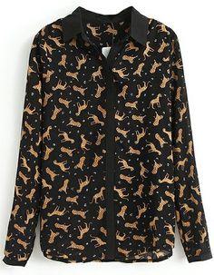 Blusa leopardo solapa manga larga-Negro EUR€19.17