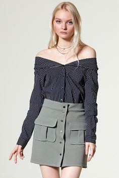 Belen 2way Striped Off-the-Shoulder Shirts Discover the latest fashion trends online at storets.com