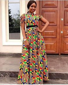 Latest Ankara styles 2018 Hi guys! these latest collection of Ankara gown styles are recent African fashion styles you should try out this week. African Maxi Dresses, Ankara Gowns, African Dresses For Women, African Attire, African Wear, African Women, African Style, Ankara Long Gown Styles, Kente Styles