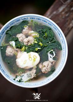 En choy and meat balls soup recipe @http://www.atablefortwo.com.au