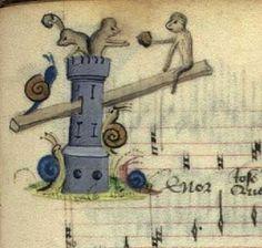 The snails attack the monkeys' castle, The Copenhagen Chansonnier, Thott 291 8º…