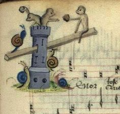 The snails attack the monkeys' castle, The Copenhagen Chansonnier, Thott 291 8º, France, 15th century. Det Kongelige Bibliotek