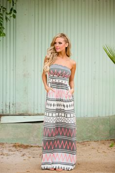 """Candy Shop Maxi Dress - Neon Coral Geometric (S to 3XL) from Closet Candy Boutique - Get 10% off  and free shipping with code """"repjennifer"""". Code never expires!"""