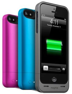 The Best Tech Gifts for the Holidays ~ Mophie's Juice Pack Helium ultrathin protective battery case provides up to 80 percent of extra battery life, shown here in pink, blue, and metallic black (also available in metallic silver, purple, green, or red), compatible with iPhone 5; $80.