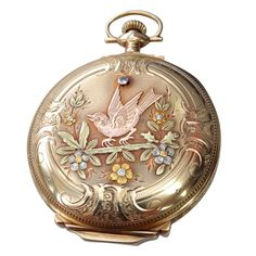 Elgin multi Gold Diamond Hunter Case Pocket Watch | From a unique collection of vintage pocket watches at https://www.1stdibs.com/jewelry/watches/pocket-watches/