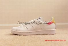 Cute Adidas Originals Stan Smith White Rainbow vivid colors Girls Shoes