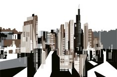 Chicago digital illustration by http://paulwearing.co.uk/  A highly detailed piece! Could do something similar for Birmingham. For a better effect but more time-consuming, the pen tool could be used, or for a quicker but less effective result, I could use an illustrator effect.