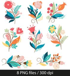 Flowers Clipart, Clip art of flowers, florals, wedding - personal use and commercial use, instant download A1