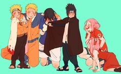 They changed clothes with their younger ones *-* and sasuke just wants to disappear xD
