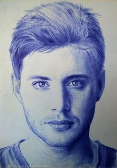 Dean Winchester @ Supernatural From the WIP Ballpoint Pen Roki paper cm) Time spent: hours. Biro Art, Ballpoint Pen Drawing, Ink Pen Drawings, Supernatural Drawings, Supernatural Fan Art, Celebrity Drawings, Drawing Projects, Fountain Pen Ink, Amazing Drawings