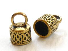4 large End Cap beads. ornate gold colored with loop by ThePeddler, $2.95