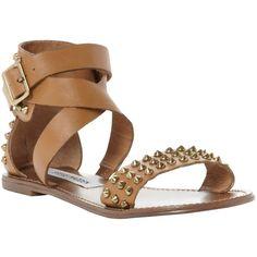 Steve Madden Buddies Studded Leather Gladiator Sandals, Tan ($105) ❤ liked on Polyvore