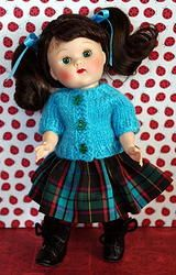 "Turquoise and Plaid..for Ginny or Muffie Fits 7.5"" dolls like vintage or reproduction Vogue Ginny dolls, Nancy Ann Muffie, Cosmopolitan Ginger, and Madame Alexander Wendys before the year 2000. 1 set in stock at my website now. 2 PC outfit of the sweater and skirt. This outfit SOLD, BUT you can special order a set just like this. It will be at your door in 2+ weeks or less. Click the pix."