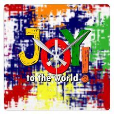 Joy to the World! square wall clock