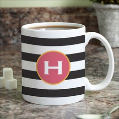Black & White Stripes Personalized (Brown) Mug (Initial A)
