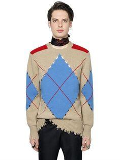 MSGM Argyle Distressed Wool Knit Sweater, Beige. #msgm #cloth #knitwear
