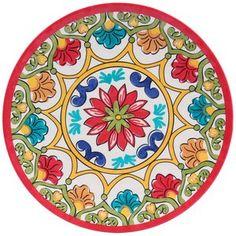 """Better Homes & Gardens 10.5"""" Melamine Dinner Plate, Red Damask"""