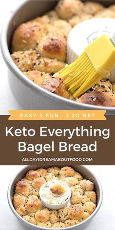 Tender fathead dough rolled into balls and sprinkled with everything bagel seasoning, for a delicious and fun keto pull apart bread. It's a wonderful grain-free side dish or appetizer! Keto Bagels, Keto Bread, Bagel Bread, Ketogenic Recipes, Low Carb Recipes, Diet Recipes, Healthy Recipes, Ketogenic Diet, Diet Meals