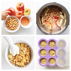 Apple, Chickpea & Red Lentils purée [6m+] - baby food.