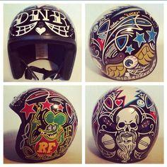 "kaliforniababylon: ""Amazing work by @jrushing_banjo #pinstriping #art #instaart #vondutch #instadaily #share #follow #instagood #instacool #amazing #fun #kustomkulture #motorcyclegear #helmets..."