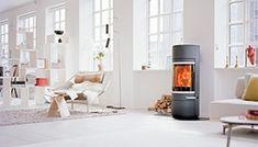 Scan 83 i sort/grå - dansk design og innovasjon - Ildstedet Foyers, Open Space Living, Living Spaces, Style At Home, Wood Burning, New Homes, Home Appliances, House Styles, Home Decor
