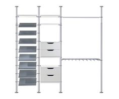 Ikea Stolmen (about $800 for our test configuration)  Board-frame shelves, drawers, and hanging rods all attach to aluminum posts in the Stolmen, so there are no brackets to install. Though it's not required, you do have the option to wall mount with brackets or attach it directly to the ceiling. Overall the system was sturdy, and although the instructions were incomplete and setup required more of a trial-and-error approach, the finished look was very nice. Caveat: Assembly is a two-person…