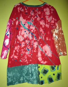 Reverse dyed and hand painted cotton tunic fits by monapaints, $219.00