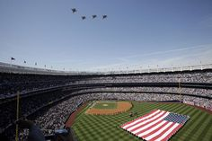 due to proper fiscal budget restraints, opening day flyovers across the country were cancelled. here's a recent yankee stadium flyover....enjoy!