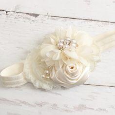 Cream ivory chiffon satin pearl por Goldfeatherboutique en Etsy