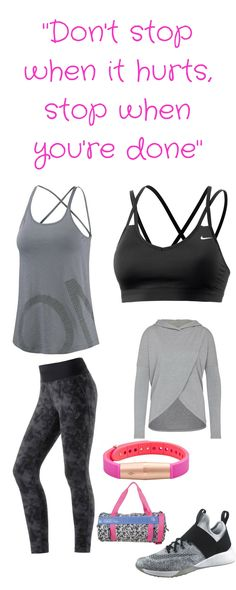 "Fitness-Outfit für Frauen – ""Don't stop when it hurts, stop when you' re done"" - gemusterte Fitness-Workout-Leggings, Träger-Top, Sport-Tasche, Fitness-Tracker, Sport-Bra, Workout-Schuhe"