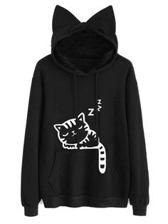 Cute Cat Printed Kangaroo Pocket Hoodie Fashion girls, party dresses long dress for short Women, casual summer outfit ideas, party dresses Fashion Trends, Latest Fashion # Sweatshirt Outfit, Cat Sweatshirt, Stylish Outfits, Cute Outfits, Fashion Outfits, Cheap Fashion, Stylish Clothes, Stylish Dresses, Men Fashion