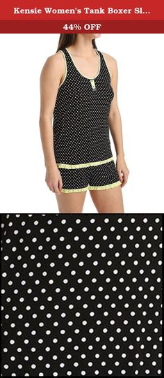 Kensie Women's Tank Boxer Sleep Set, Black/Gold Dot, X-Large. This tank and boxer set is made out of rayon spandex jersey fabric. Both the tank and the boxer have a contrast color ruffles at the hem. The tank has a functional frontal placket with 2 buttons and a bow. The boxer has 2 buttons with 1/8'' contrast color cover stitch around 1'' wide faux placket shape.