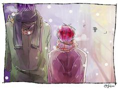 Murasakibara Atsushi x Akashi Seijūrō 赤司征十郎 x 紫原 敦【紫赤】お題:『雪』 #mrak_60min 遅刻失礼しました;;