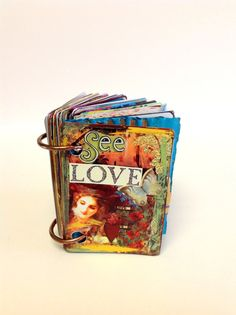 Mixed media mini art journal ART INSPIRATION QUOTES See by IMGirl. Sometimes ones present/future is never as satisfying as the past.book of love. Art Journal Pages, Art Journaling, Junk Journal, Mini Albums, Art Journal Inspiration, Inspiration Quotes, Scrapbooking, Mixed Media Journal, Altered Art