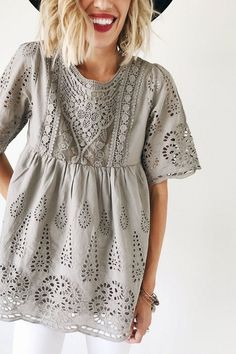 Megan Lace Top in Sage Grey Passion For Fashion, Love Fashion, Womens Fashion, Dress Me Up, Dress To Impress, Autumn Winter Fashion, Eyelet Lace, Eyelet Top, Style Me