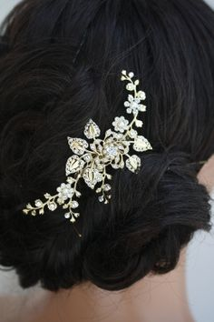 Gold Bridal Hair Comb, Wedding Hair Piece, flowers and Leaves, Gold Hair Vine, Gold Side Comb, Wedding Hair accessories HARLOW VINE. $95.00, via Etsy.