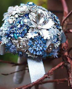 Blue & silver brooch bouquet