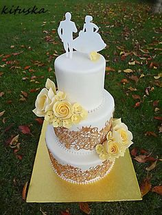 svadobná bielo-zlatá, torty, wedding cakes, Autorka: kituska, tortyodmamy.sk