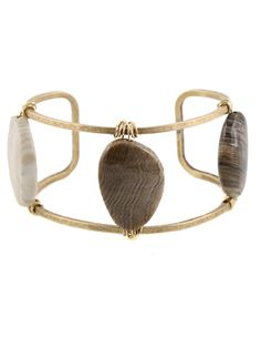 """Wide Stone Cuff by Peggy Li Creations. Wood opalite, 1"""" wide brass cuff and 14k gold-filled wire for a bold bracelet statement."""