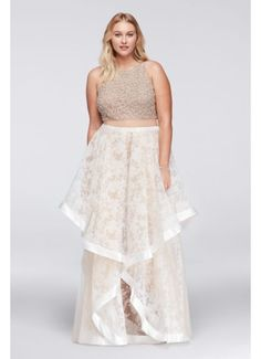Illusion-Inset Dress with Beading and Floral Skirt 1711P2129W