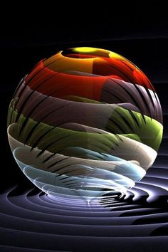Shared by www.me Layered Sphere by ~Kabuchan Digital Art / Fractal Art / Raw Fractals Art Of Glass, Glass Marbles, Glass Paperweights, 3d Wallpaper, Black Wallpaper, Fractal Art, Fractal Design, Paper Weights, Colored Glass